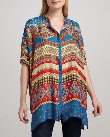 Multi-Print Oversized Silk Top, Women's