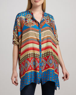 Johnny Was Collection Multi-Print Oversized Silk Top