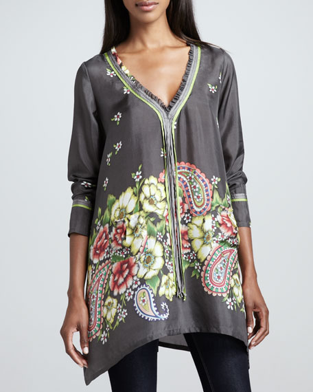 Triple-Tie Silk Printed Tunic