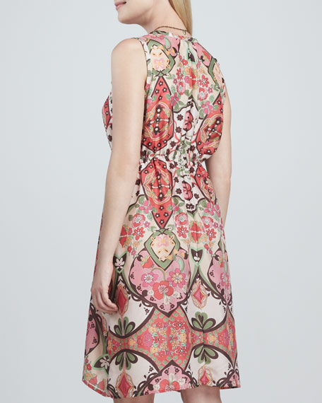 Adalena Sleeveless Printed Silk Dress