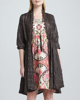 Johnny Was Collection Long Eyelet Drawstring Cardigan