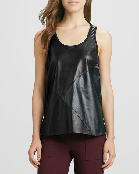 Patchwork Leather Tank Top