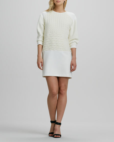 Patchwork-Knit Sweaterdress