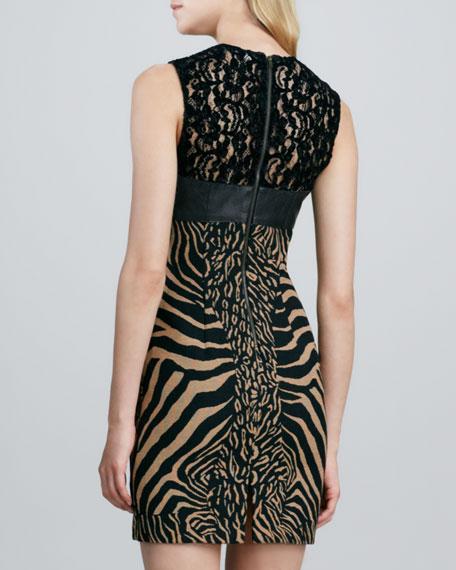 Illusion Lace Animal-Print Dress