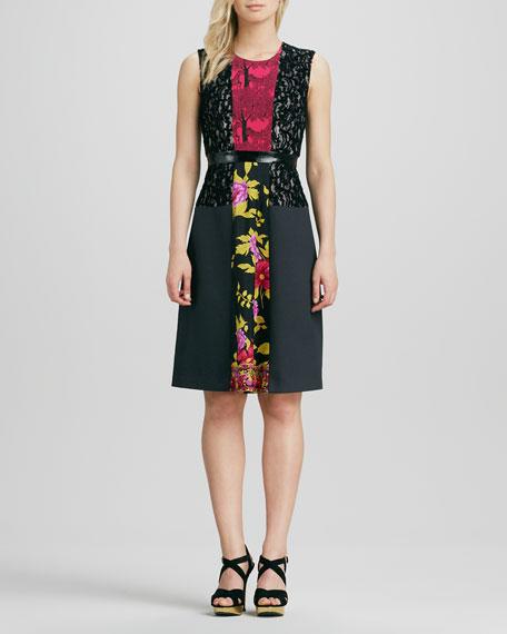 Sleeveless Mixed-Media Dress