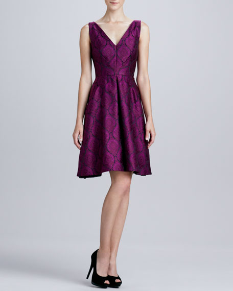 Sleeveless V-Neck Printed Dress