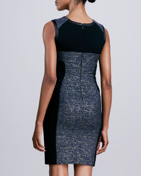 Sleeveless Metallic Tweed Dress
