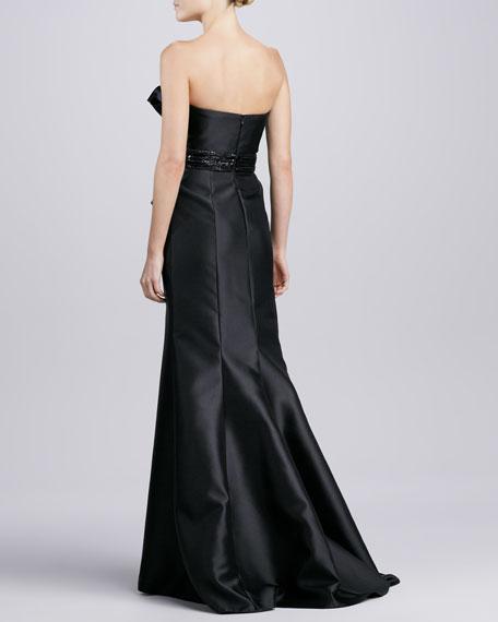 Strapless Beaded Peplum Gown, Black