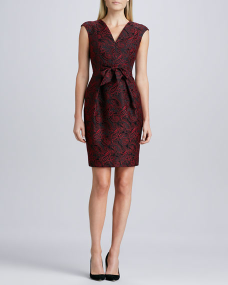 Tie-Waist Jacquard Cocktail Dress