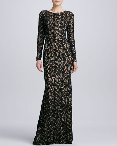 Lace Gown with Jewel Neckline