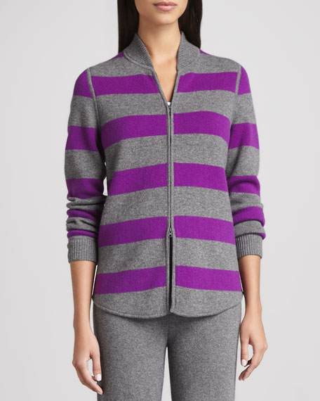 Reversible Striped Cashmere Cardigan