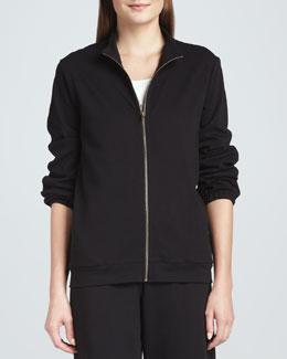 Joan Vass Interlock Stretch Zip-Front Jacket, Women's