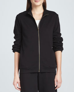 Joan Vass Interlock Stretch Zip-Front Jacket