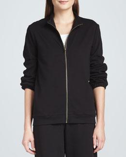Joan Vass Interlock Stretch Zip-Front Jacket