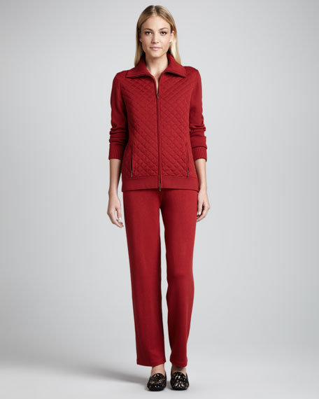 Quilted Zip-Front Silk-Blend Zip Jacket and Pant Set