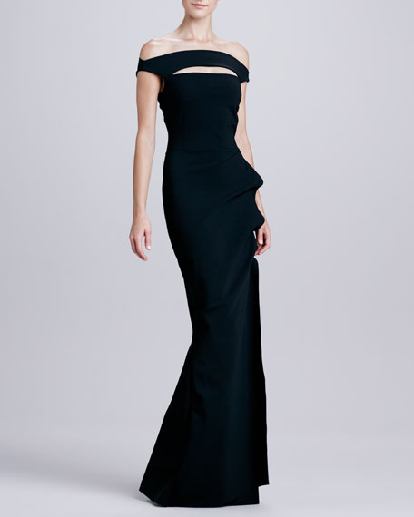 Melania Off-The-Shoulder Jersey Gown