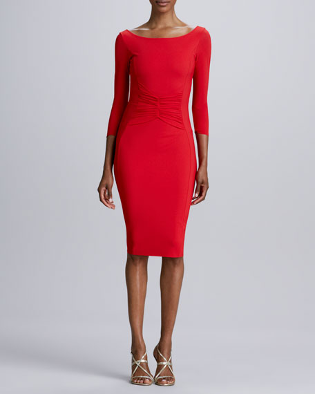 Ortensia Ruched-Back Jersey Cocktail Dress