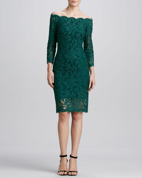 Off-the-Shoulder Lace Cocktail Dress, Cedar