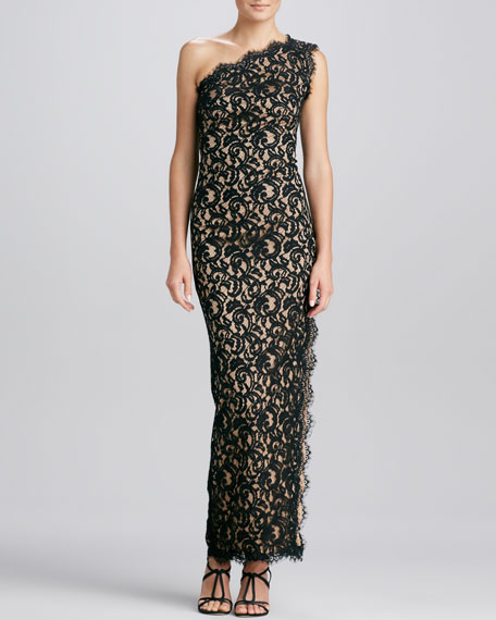 One-Shoulder Side-Slit Lace Gown