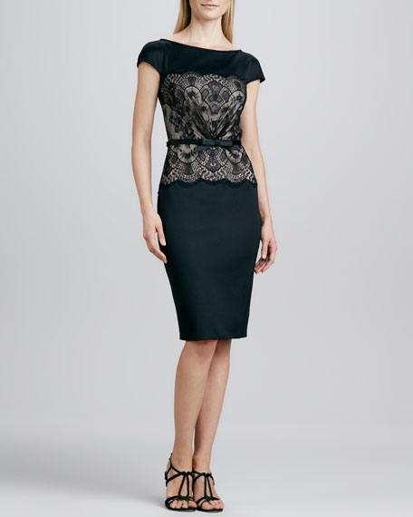 Lace-Overlay-Bodice Belted Cocktail Dress