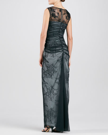 Sleeveless Lace Mesh-Overlay Gown