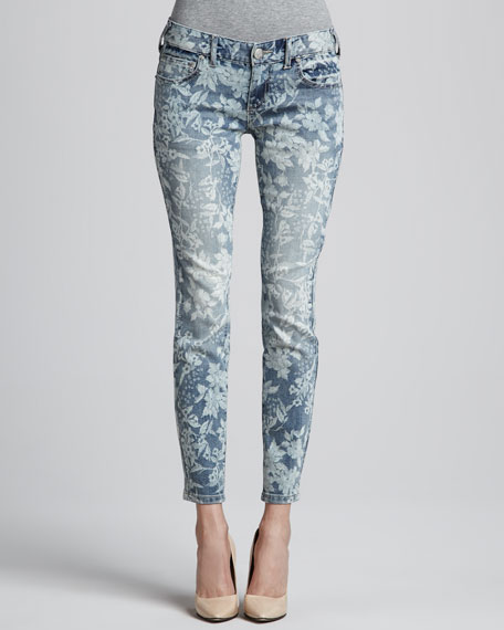 Hawaiian-Print Skinny Ankle Jeans