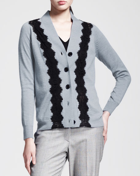 Lace-Stripe Knit Cardigan