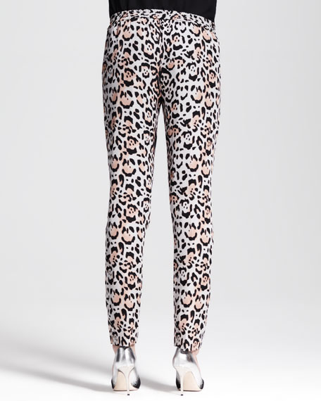 Leopard-Print Silk Ankle Pants