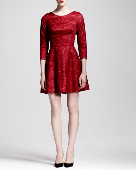 3/4-Sleeve Lace Skater Dress