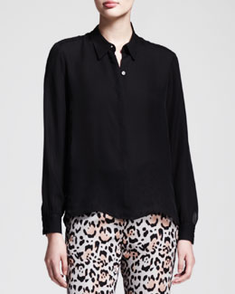 Nonoo Covered-Button Georgette Blouse