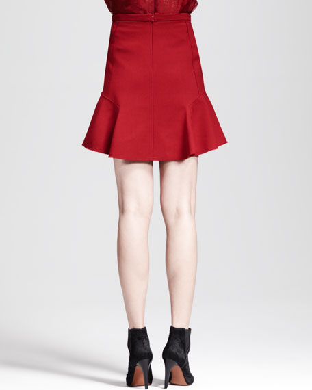 Crepe Dropped Flare Skirt