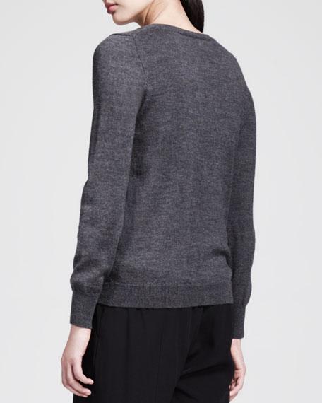 Magpie Bird-Print Wool Crewneck Sweater