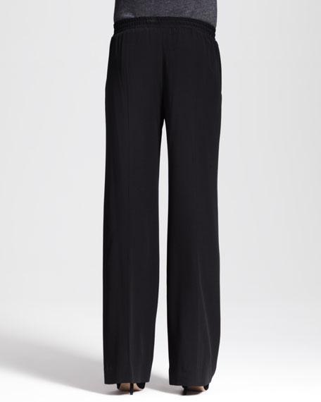 Wide-Leg Drawstring Crepe Pants