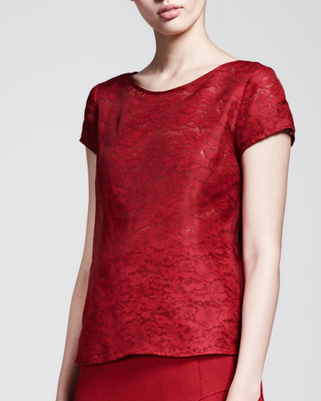 Short-Sleeve Organza-Lace Top