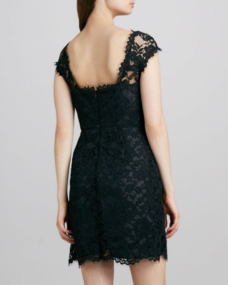 Boat-Neck Lace Dress, Black