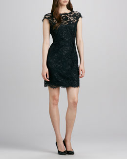 Shoshanna Boat-Neck Lace Dress, Black