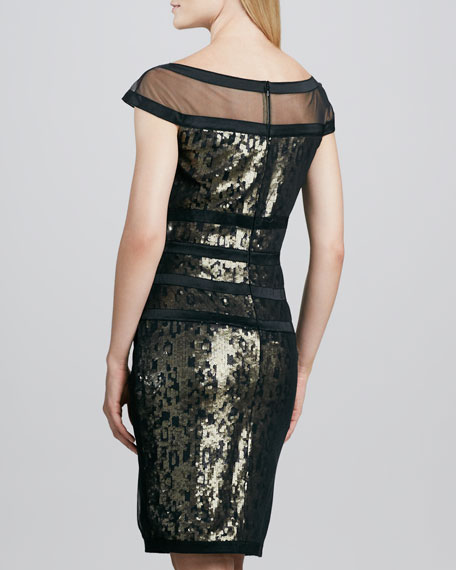 Illusion-Neck Sequined Cocktail Dress