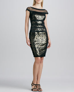 Tadashi Shoji Illusion-Neck Sequined Cocktail Dress