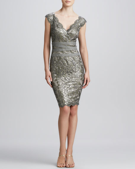 Lace Overlay Cocktail Dress, Smoked Pearl