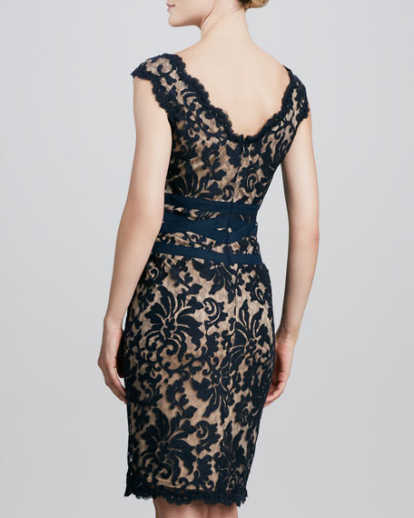 Lace Banded Cocktail Dress, Navy
