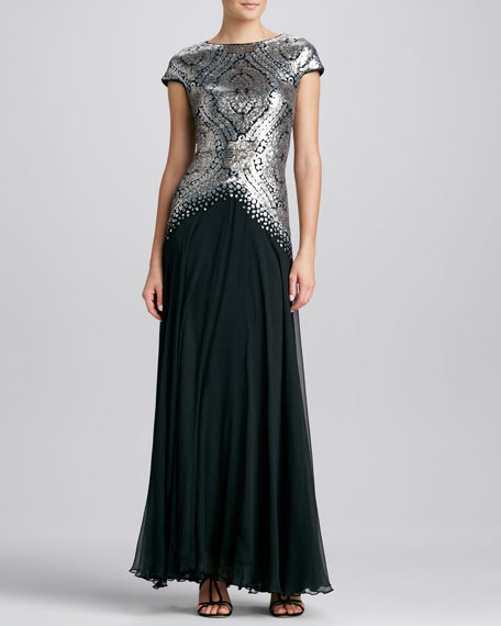 Metallic-Print Bodice Gown