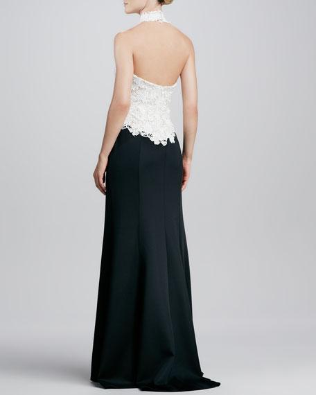 Halter-Necklace Lace/Crepe Gown