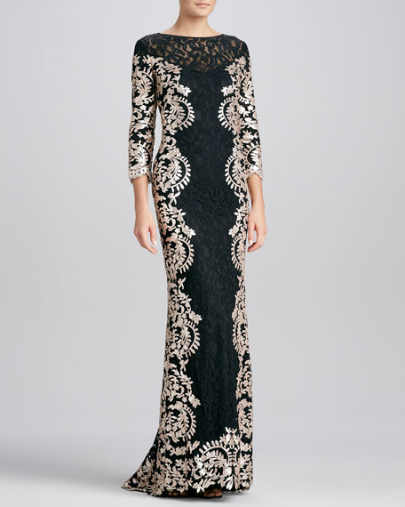 Metallic-Print Lace-Panel Gown