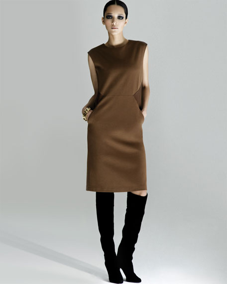 Punto Milano Leather-Inset Dress