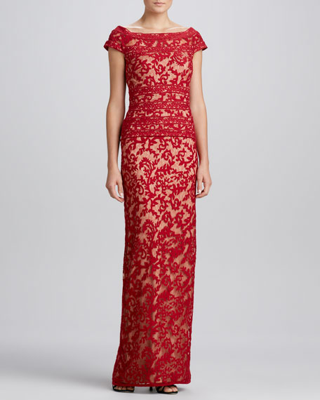 Illusion-Neck Lace Gown, Red