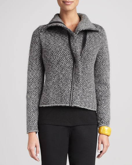 Herringbone Zip-Front Jacket