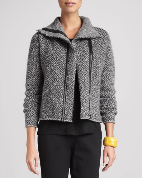 Herringbone Zip-Front Jacket, Petite