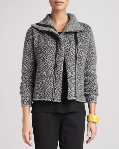 Herringbone Zip-Front Jacket, Women's