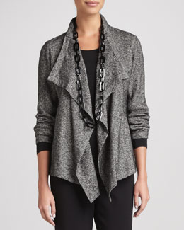 Eileen Fisher Herringbone Cascade-Front Jacket
