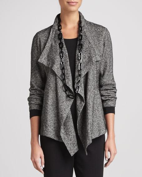 Herringbone Cascade-Front Jacket, Petite